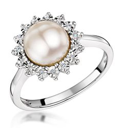 Stellato Collection Pearl and Diamond Ring 0.05ct in 9K White Gold