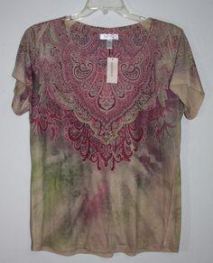 39988b96b45d8 NWT Dress Barn 1X Purple Beige Green Boho Embellished Top Plus Size   Dressbarn  Boho  plussize  fashion  forsale