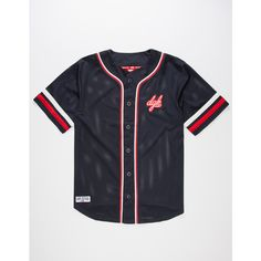 DGK From Nothing Mens Baseball Jersey ($50) ❤ liked on Polyvore featuring men's fashion, men's clothing, mens clothing, men's apparel and mens baseball jerseys