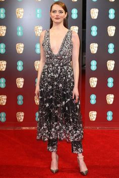 Emma Stone in a Chanel dress over pants - click ahead for more best dressed at the 2017 BAFTA awards