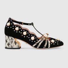 Studded mid-heel pump