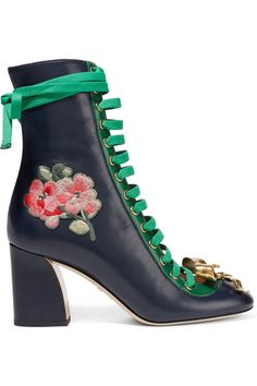 Gucci - Embroidered Leather Lace-Up Ankle Boots