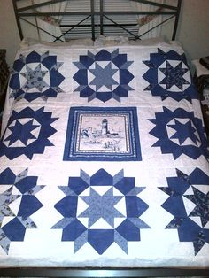 """Swoon quilt using various blue fq and Marcus Brothers """"By the Sea"""""""