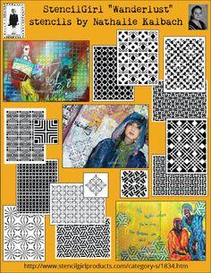 StencilGirl Talk: Wanderlust by Nathalie Kalbach includes stencils inspired by: Amsterdam, Beacon (Hill), Chicago, Granada, Hamburg, Kassel, Manhattan, New Orleans, Santa Fe, Versailles, and  Mesa Verde.