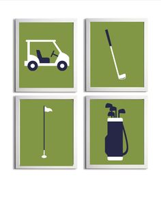 Golf Sports Nursery Baby Girl Boy Green Navy Prep more colors available set of 4 each 8x10. $48.00, via Etsy.