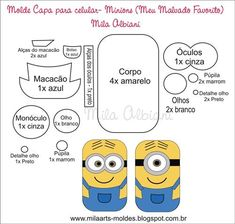 minion patterns for mobile case /molde minions para celular Felt Crafts, Fabric Crafts, Diy Crafts, Felt Patterns, Stuffed Toys Patterns, Minion Craft, Minion Pattern, Sewing Projects, Projects To Try