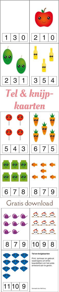 MizFlurry: Tel & knijpkaarten - Zoek je nog een leuke manier om tellen, aantallen en cijfers te oefenen voor kleuters? Probeer deze tel & knijpkaarten eens: gratis PDF downloaden, printen, lamineren, uitknippen en dan aan het kind geven met 11 wasknijpers of een uitwisbare stift.