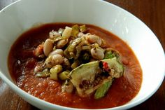 Bean, Zucchini and Roasted Red Pepper Soup; Ingredients: 4 red peppers ...