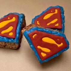Chocolate PB Rice Krispie Treats by sugarkissed_net Superman Party, Superman Birthday, Superhero Party, Rice Krispie Treats Variations, Rice Crispy Treats, Creative Desserts, Just Desserts, Fondant Cakes, Cupcake Cakes