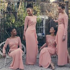Bridesmaid Short Dresses 2016 African Nigerian Long Sleeves Bridesmaid Dress Scoop Neck Pick Ups Sequins Chiffon Coral Pink Maid Of The Bride Gowns Custom Made Bridesmaid Dresses Sydney From Whiteone, $88.47| Dhgate.Com