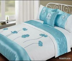 Just Contempo King Size Bedding Set ( kingsize ) Polyester Bed in a Bag - Embroidered Duvet Cover Faux Satin Silk Complete Bedding Sets, Blue Just Contempo Designer Bed Sheets, Art Above Bed, King Size Bedding Sets, Bed Linen Design, Bed In A Bag, Duvet Bedding, Quilt Cover Sets, Bed Styling, Bed Covers