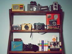 {my shelf of vintage cameras}