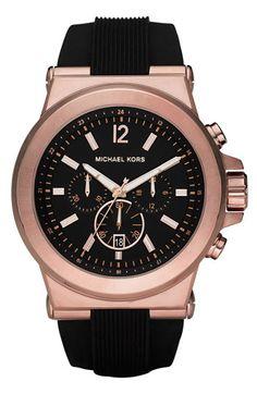 Men's Michael Kors Chronograph Watch - Rose Gold/ Black