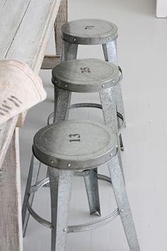 Vintage brushed metal stools with brilliant number detail. Love the industrial look these have. Industrial Stool, Industrial Living, Industrial Farmhouse, Industrial Interiors, Industrial Furniture, Vintage Industrial, Design Industrial, French Farmhouse, Modern Industrial