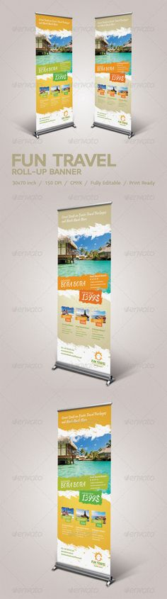 Fun Travel Roll-Up Banner Template PSD. Download here: http://graphicriver.net/item/fun-travel-rollup-banner/4164783?s_rank=42&ref=yinkira