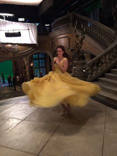 Emma Watson does a twirl behind the scenes. She posted on 3-17-17: Beauty and the Beast opens today! I hope you have as much fun watching it as I did making it. Love, Emma