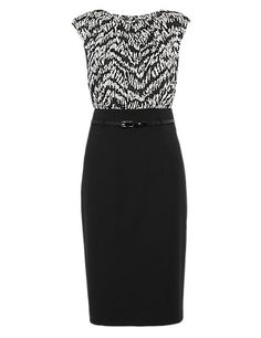 Abstract Print Dress with Belt Clothing