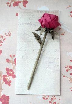 Origami Rose Greeting Card - Handmade // Valentines // Anniversary // Birthday