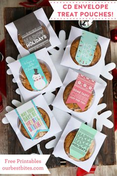 Use paper CD envelopes to display a sweet treat! Download the custom-fit free holiday labels at ourbestbites.com