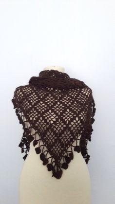 brown  Color Elegant Shawl  stole bolero shrug by modelknitting