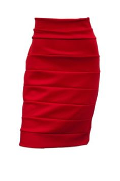 eVogues Plus size Bandage Pull On Pencil Skirt Red - 1X