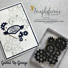 Make Your Own Stamps Using Dies! with video. Stampin Up Geared Up Garage, masculine card Homemade Stamps, Homemade Cards, School Scrapbook Layouts, Make Your Own Stamp, Fathers Day Cards, Your Cards, Men's Cards, Diy Cards, Card Sketches