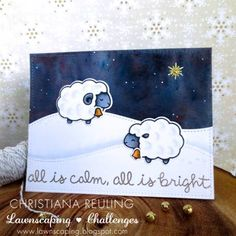Lawn Fawn - Baaah Humbug, Snowy Backdrops, Stitched Hillside Borders, Stitched Rectangle Stackables _ gorgeous card by Christiana for We Wish You a Very Fawny Holiday Week 2015 {day 3}