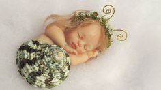 OOAK POLYMER CLAY BABY GIRL SNAIL IN REAL SHELL! MERMAID LIKE BABY SEA SNAIL!