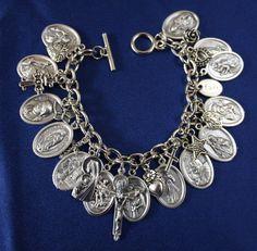 Religious Saint Medal Charm Bracelet (322b) Trinity Cross & More