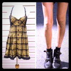 Plaid sundress with faux leather straps & buttons CuTe!! Plaid sundress with cool faux leather straps and buttons. Size is S/P fits like an XS very good condition Dresses