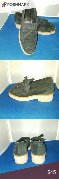 ASOS black suede loafers NWOT ... Wear with your favorite plaid and rock you're thick horn rimmed glasses.  I bet you steal the show!  Fringe,  tussle, suede, thick rubber soles with heel that gives a little lift.   Nice! ASOS Shoes Flats & Loafers