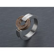Bvlgari Signature Ring in Rose/White Gold Plated with Diamonds