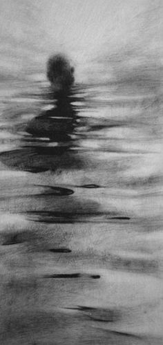 Charcoal has been used to create a water texture through light and smudging and some accentuated water edges with line