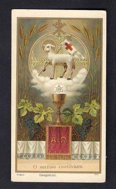 Antique Goldprint Holy Card ** LAMB OF GOD