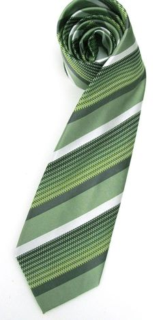 Mens Necktie  Green and White Striped Silk Tie by TieObsessed, $18.95