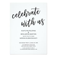 Sample reception card wording for your perfect wedding reception celebrate with us casual modern wedding party invitation filmwisefo