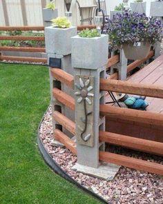 Cinder block fence