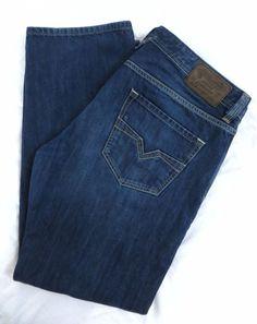 DIESEL Jeans Larkee 38W 32L Denim Division Blue Regular Straight Leg Button Fly #DIESEL #ClassicStraightLeg