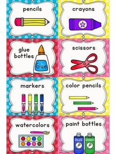 Free printable classroom signs and labels. free printable classroom signs a Kindergarten Classroom Decor, Classroom Signs, Classroom Supplies, In Kindergarten, Classroom Labels Free, Daycare Labels, Classroom Organisation, Classroom Management, English Classroom