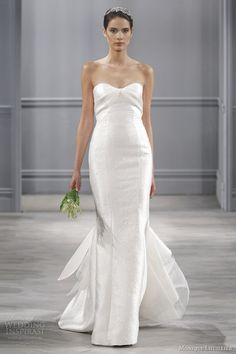 monique lhuillier wedding dress spring 2014 isla strapless mermaid gown   add straps and this would be perfect!