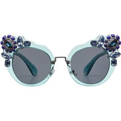 Miu Miu Embellished Cat-Eye Sunglasses (21,490 DOP) ❤ liked on Polyvore featuring accessories, eyewear, sunglasses, glasses, none, see through glasses, transparent sunglasses, miu miu, cat eye sunnies and see through sunglasses #miumiuglasses