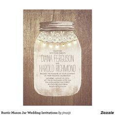 "Rustic Mason Jar Wedding Invitations 5"" X 7"" Invitation Card"