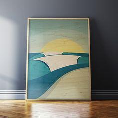P I P E L I N E - wood prints by San Clemente, CA artist Shaun Thomas. #wood #print #surf #art #decor #wall #beach #hawaii #tropical #cottage #vintage #design #ocean #sea #waves #sunset