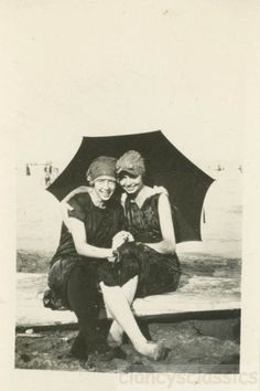 1922 Teenage Girls Bathing beauties Under Umbrella at Beach