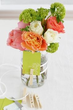 Flowers in a mason jar by Lailah