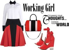"""Working Girl - Change Your Thoughts Change Your World"" by latoyacl ❤ liked on Polyvore"