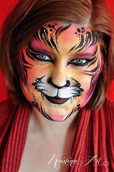 Face painting cat tiger. Ansiktsmålning katt tiger. kristinaart.se