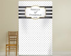 Personalized Photo Backdrop Classic Bold Stripe Gold Black White Photobooth Background Photography Back Drop Wedding Birthday Party Props