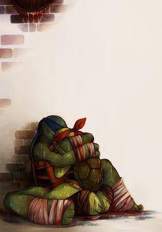 Don't Cry, Little Brother by pirate-pet on DeviantArt Ninja Turtles Art, Teenage Mutant Ninja Turtles, Tmnt Leo, Leonardo Tmnt, Turtle Love, Tmnt 2012, Dont Cry, Cute Comics, Cartoon Shows