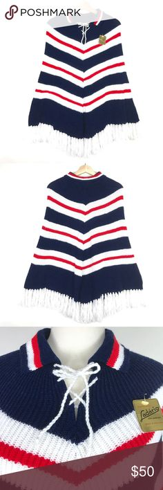 "1960s collared tie front poncho 〰VTG chevon cape super cute deadstock 1960s lace up collared poncho! chevron red white and blue stripes, tie front, fringe trim. super soft and has stretch. new with original tag priced at $200. excellent vintage condition! one size fits most  BRAND label - Ladario size listed - none made of acrylic made in Portugal   *vintage sizes vary from todays, so be sure to check measurements to ensure a good fit. shown on size 2/4 mannquin*  MEASUREMENTS: 31"" long open…"